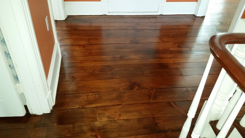 We used existing wood from another area of this historical Chester County home to match and patch this area of an upstairs hallway.